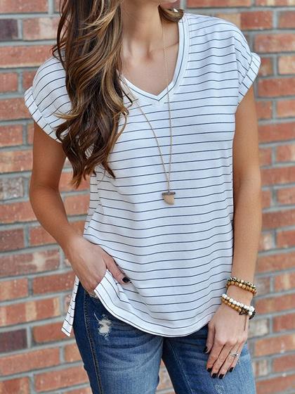 White Stripe Cotton V-neck Split Side Chic Women T-shirt