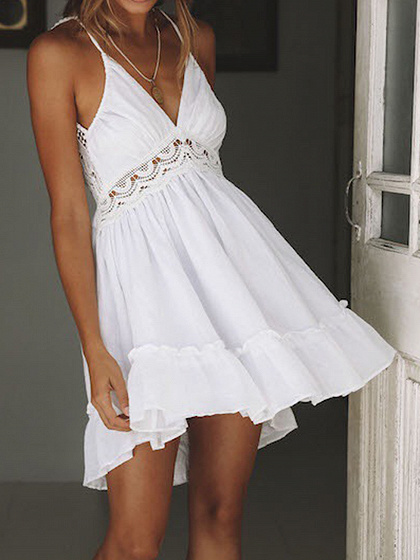 White V-neck Cut Out Detail Open Back Chic Women Cami Mini Dress