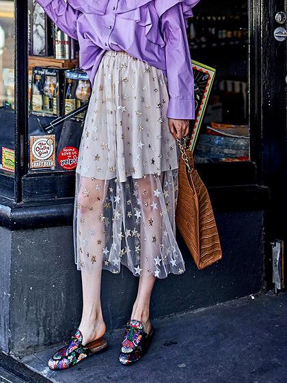 White High Waist Star Sequin Detail Chic Women Sheer Mesh Midi Skirt