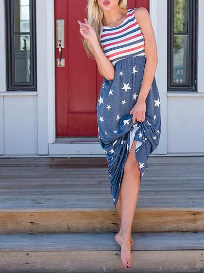 Blue Star Print Stripe Panel Sleeveless Chic Women Maxi Dress