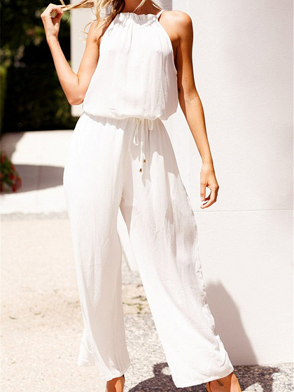 White Cotton Drawstring Waist Sleeveless Chic Women Romper Jumpsuit