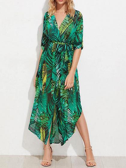 Green Chiffon V-neck Leaf Print Tie Waist Chic Women Maxi Dress