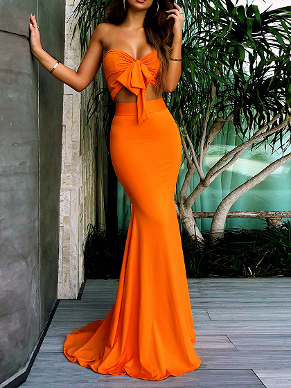 Orange Bandeau Tie vorne Chic Frauen Crop Top und hohe Taille Maxi Rock