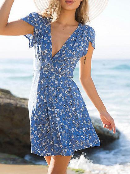 Blue Plunge Floral Print Drawstring Waist Back Chic Women Mini Dress