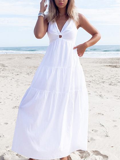 White V-neck Knot Front Open Back Sleeveless Chic Women Maxi Dress