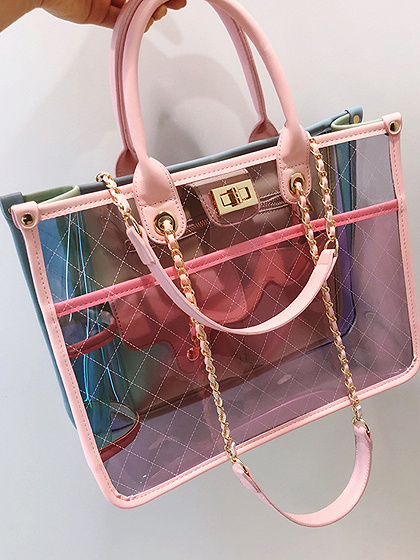 Pink PU Argyle Print Chain Strap Chic Women Sheer Handle Shoulder Bag
