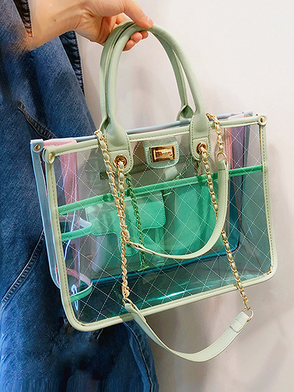Green PU Argyle Print Chain Strap Chic Women Sheer Handle Shoulder Bag