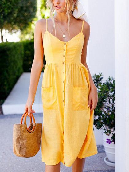 Yellow Cotton Blend Button Placket Front Chic Women Cami Midi Dress