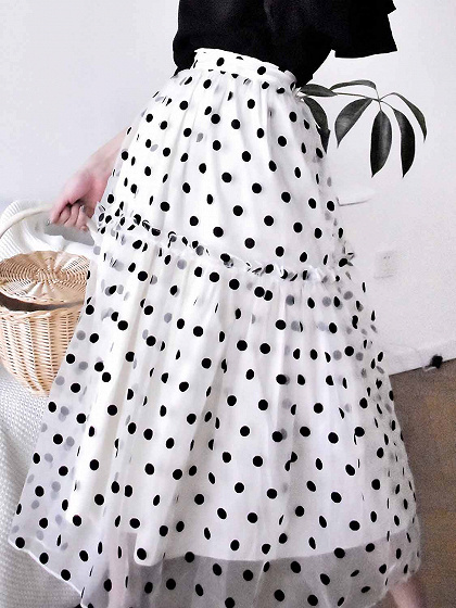 White High Waist Polka Dot Print Chic Women Mesh Midi Skirt