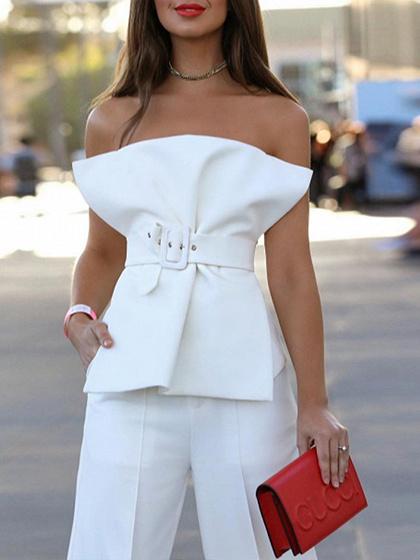 White Cotton Blend Bandeau Buckle Strap Waist Chic Women Blouse
