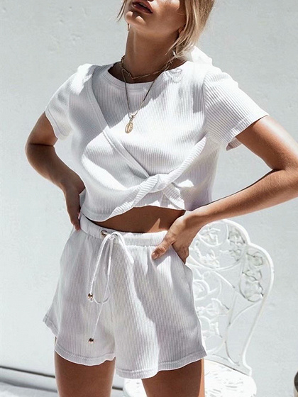 White Ribbed Crew Neck Chic Women Crop Top And High Waist Shorts