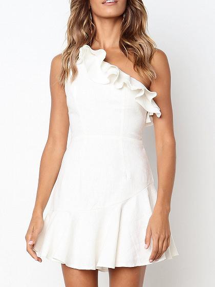 White Cotton Blend Asymmetric Neck Ruffle Trim Chic Women Mini Dress