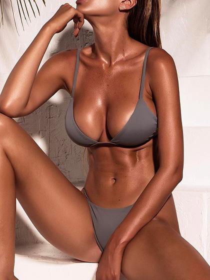 Gray Nylon Open Back Chic Women Bikini Top And Bottom