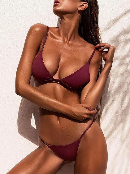Burgundy Nylon Open Back Chic Women Bikini Top And Bottom