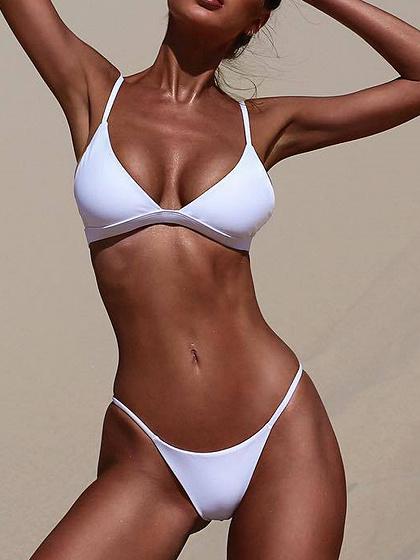 White Nylon Open Back Chic Women Bikini Top And Bottom