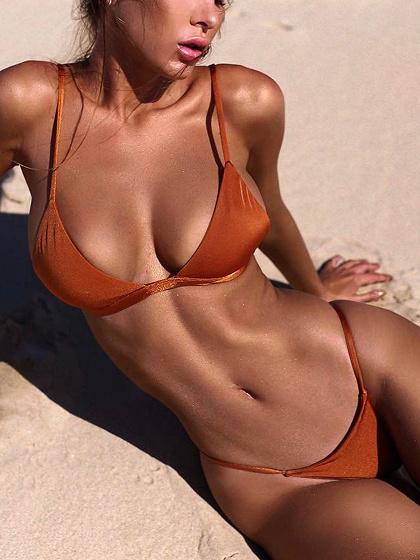 Orange Nylon Open Back Chic Women Bikini Top And Bottom