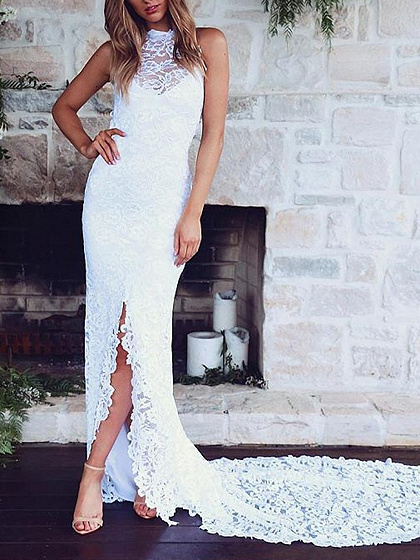White Halter Open Back Sleeveless Chic Women Lace Bodycon Maxi Dress