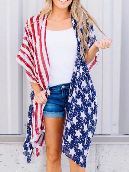 Multicolor Chiffon American Flag Print Open Front Chic Women Cardigan