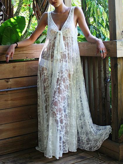 White V-neck Tie Front Sleeveless Chic Women Lace Maxi Dress