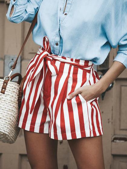 Red Stripe High Waist Pocket Detail Chic Women Shorts
