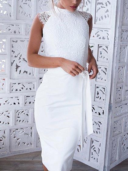 Vestido ajustado sin mangas con cuello en V cintura blanca sin mangas