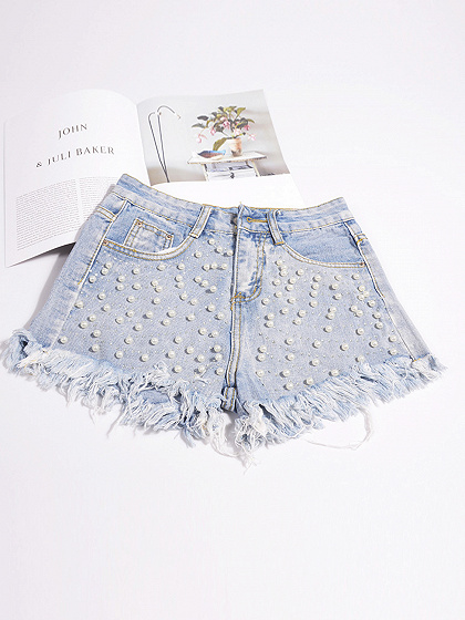 Light Blue High Waist Beaded Embellished Chic Women Denim Shorts