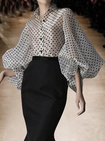 White Lapel Polka Dot Print Puff Sleeve Chic Women Sheer Shirt