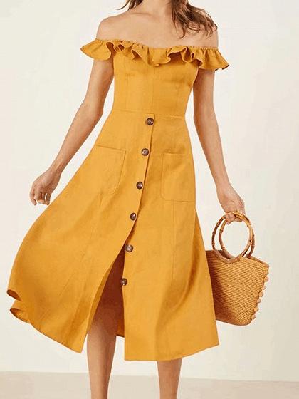 Yellow Off Shoulder Button Placket Front Chic Women Midi Dress