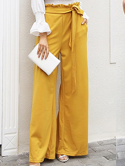 Yellow Cotton Blend High Waist Frill Trim Chic Women Wide Leg Pants