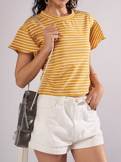Yellow Stripe Eyelet Lace Up Back Chic Women Blouse