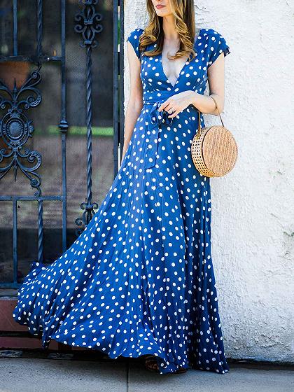 Blue Plunge Polka Dot Print Thigh Split Front Chic Women Maxi Dress