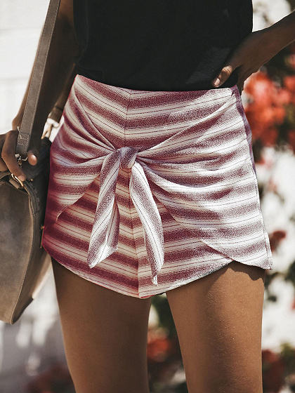 Red Stripe High Waist Tie Front Chic Women Shorts