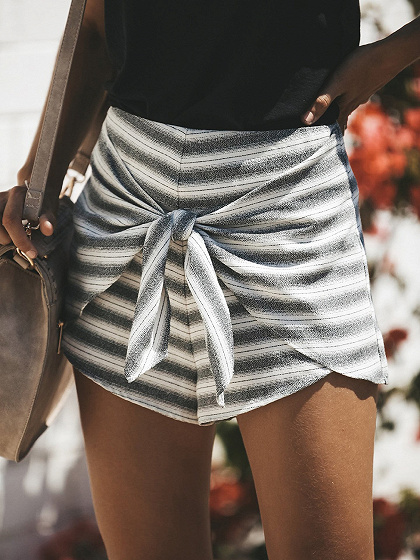 Black Stripe High Waist Tie Front Chic Women Shorts