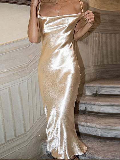 Golden Satin Look Open Back Chic Women Bodycon Cami Maxi Dress