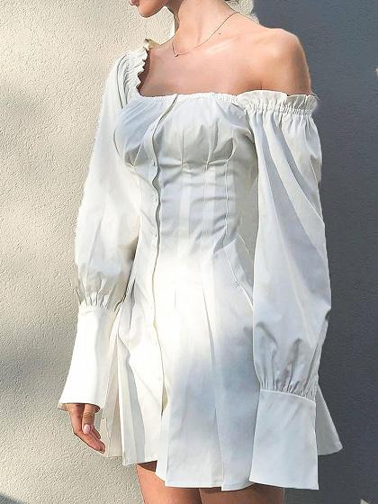 White Cotton Frill Trim Puff Sleeve Chic Women Mini Dress