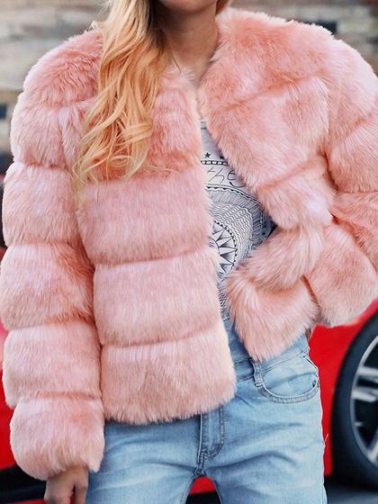 Manteau rose à manches longues en fausse fourrure