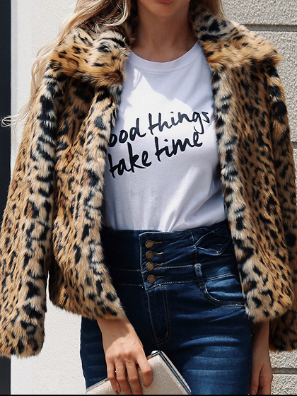 Brown Faux Fur Leopard Print Long Sleeve Chic Women Coat