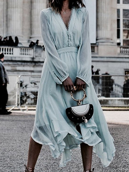 Light Blue Chiffon V-neck Long Sleeve Chic Women Midi Dress