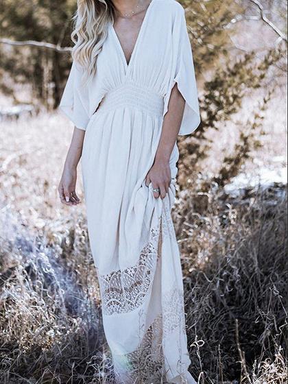 White V-neck Lace Panel Batwing Sleeve Chic Women Maxi Dress