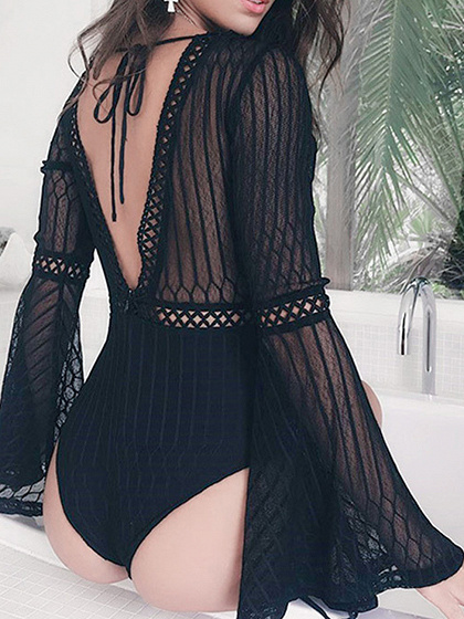 Black V-neck Open Back Flare Sleeve Chic Women Bodysuit
