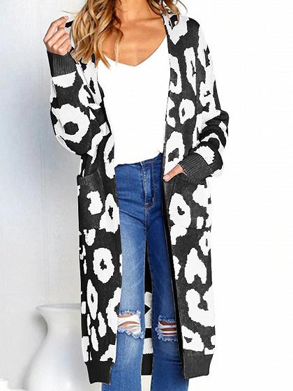 Black Cotton Circle Print Long Sleeve Chic Women Longline Cardigan