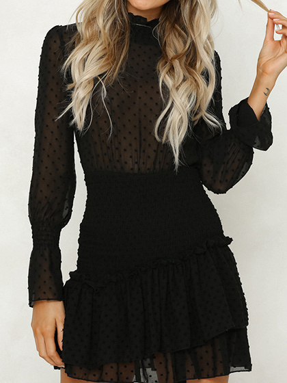 Black Chiffon Polka Dot Print Puff Sleeve Chic Women Mini Dress