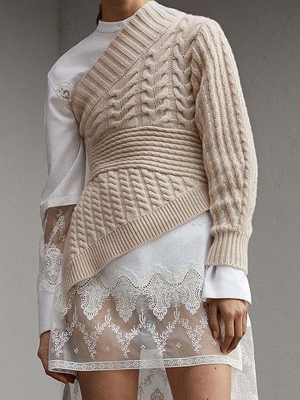 Beige Asymmetric Neck Long Sleeve Chic Women Knit Sweater