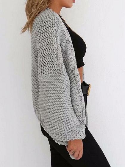 Gray Open Front Long Sleeve Chic Women Knit Cardigan
