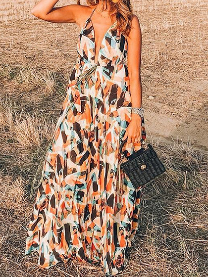 Polychrome Chiffon Plunge Geo Pattern Print Chic Women Cami Maxi Dress