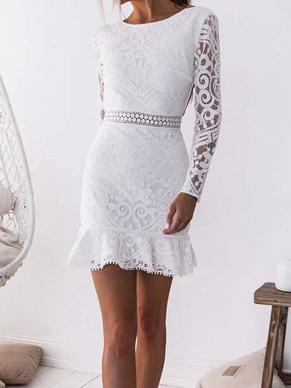 White Open Back Long Sleeve Chic Women Lace Bodycon Mini Dress
