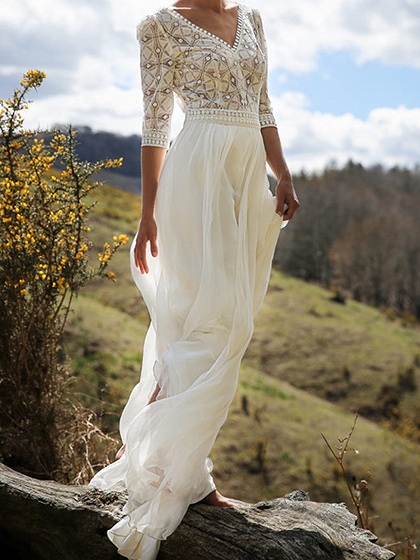 White Chiffon V-neck Lace Panel Chic Women Maxi Dress