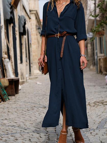 Blue V-neck Thigh Split Long Sleeve Chic Women Maxi Dress