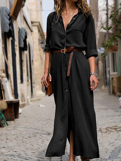 Black V-neck Thigh Split Long Sleeve Chic Women Maxi Dress