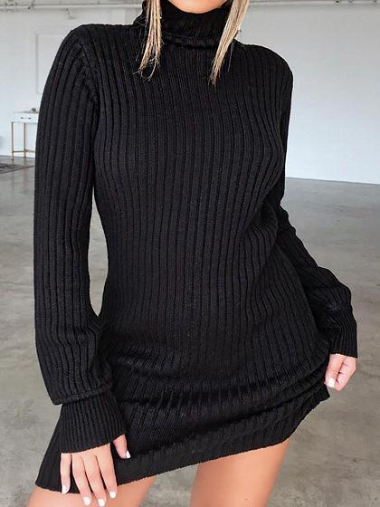 Black Ribbed High Neck Long Sleeve Chic Women Bodycon Mini Dress